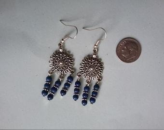 Lapis Lazuli Silver Sun Motif Earrings
