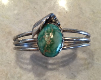 Native American Silver and Turquoise with Leaf Motif Cuff Bracelet