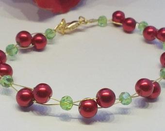 Cherry bead bracelet