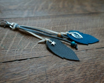 "Keyring ""Feathers"" blue"