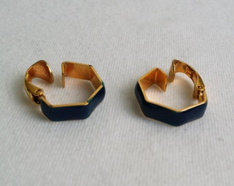 Vintage Gold Tone Blue Enamel Geometric Clip On Earrings.