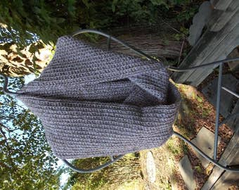 """INFINITY SCARF Taupe and White Tweed, Round 76""""  Height 7"""" Double Strand Crochet"""
