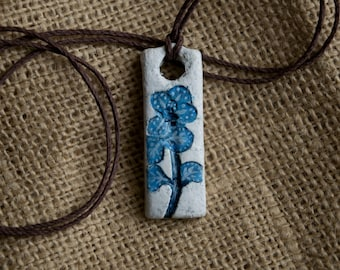 Rustic Blue and White Pressed Flower Tall Pendant