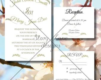 "Wedding Invitation/RSVP/Reception Card ""Elegance"""