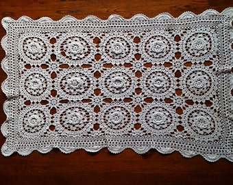 Vintage Lace Rectangular Table Runner. Crocheted Roses Antique Linen White Colour Cotton Lace Table Runner. RBT0246