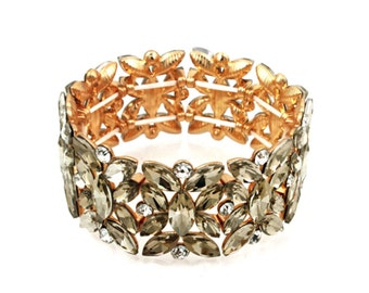 Art Deco Vintage Style Stretch Crystal Cuff Bracelet In Sage Green