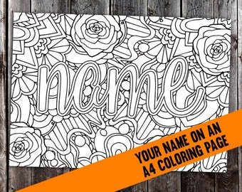 Custom coloring page from your name (CBL00N) - Printable A4 PDF or JPEG coloring page made to order from your name or personalized message