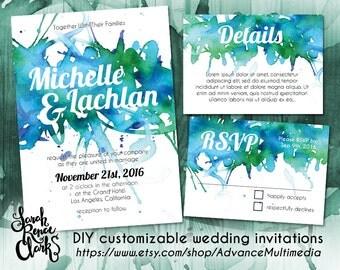 Wedding Invitation Template – Customizable PSD template, watercolor invitation suite, printable wedding invitations, Editable PSD invitation