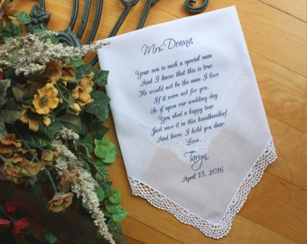 Personalized PRINTED wedding handkerchief, Mother of the Groom Handkerchief, Your Son is such a SPECIAL Man,  custom, mom gift, LS5FCAC