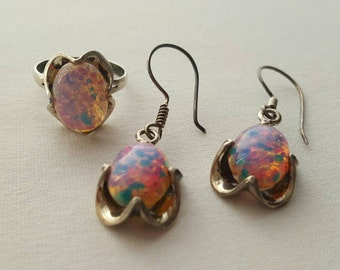 Sterling And Faux Opal Set