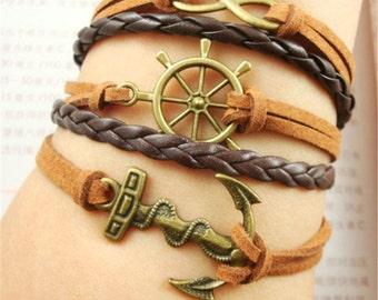Leather Bracelet  Anchor Rudder Bracelet Infinity Bracelet Friendship Bracelet Elephant Jewelry