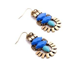 Vintage Egyptian Chandelier Earrings, Bold Summer Statement Earrings, Royal Blue Earrings, Ocean Blue Earrings, Long Dangle Earrings
