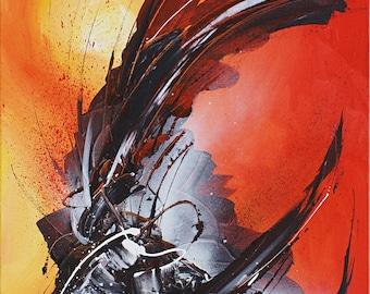 Abstract Original Art: Orange Energy (Acrylic on canvas)