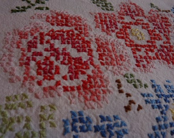 cotton tablecloth embroidered hand cross-stitch old retro vintage from France