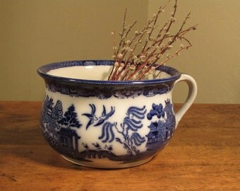 Antique Royal Doulton Chamber Pot, Blue Willow Chamber Pot, Blue and White Ceramic Thunder Mug, Victorian Decor, Made in England, 1800s