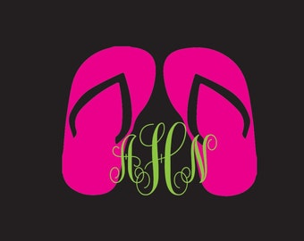 Flip flop monogram vinyl car decal, sandal monogram, beach monogram, flip flop yeti decal, girly decal, cute monogram for yeti