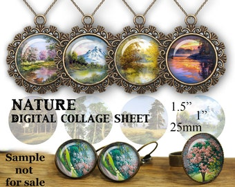 "Digital Collage Sheet Painting clip art nature Bottle Cap Glass Cabochon Resin Pendant magnet collage sheet 1.5"" 1"" 25mm"