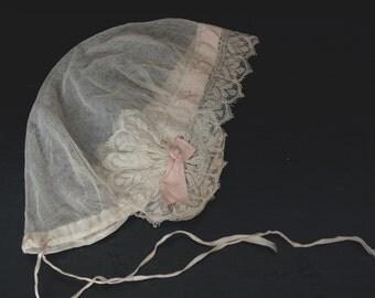 Antique/ vintage Victorian wedding bonnet Juliet cap.