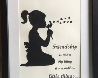 Silhouette Paper Cut Friendship Picture, Framed