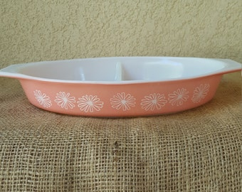 Vintage Pink Daisey Pyrex Divided Dish *no lid