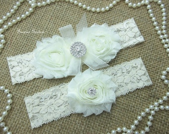 Garter Set-Shabby Chiffon Flower Wedding Garter Set,Keepsake & Toss Garter Set, Wedding Flower Garter set,Wedding Accessories