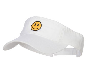 Smiley Face Embroidered Cotton Washed Visor