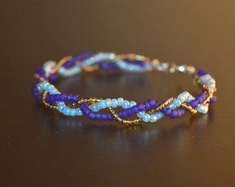 blue and gold woven bangle