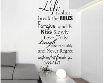 Life is short..., Wall decal sticker, Vinyl lettering and words, Decal vinyl quotes, Wall art, Words wall decal, Wall sticker 056