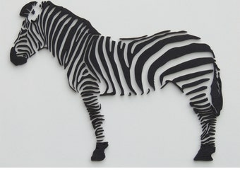 3D zebra, with laser cut wall decor from wood
