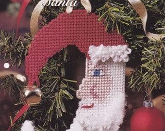 Moon Shaped Santa, The Needlecraft Shop Collector's Series Plastic Canvas Pattern Leaflet Holiday Spirit 964040 Christmas Doorknob Hanger