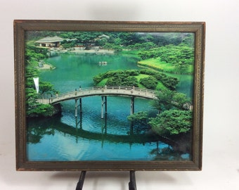 Vintage original asian pond bridge photography  20in. x 16in.