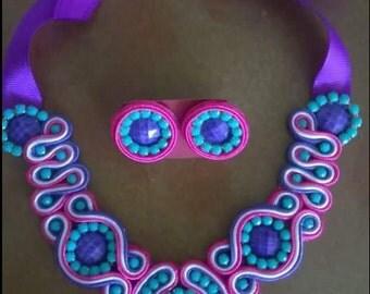 soutache / necklace set with tendrils