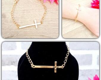 Gold Cross Bracelet, Christian Bracelet, Cross Bracelet, Sideways Cross Bracelet, Cross Jewelry, Baptism Bracelet,