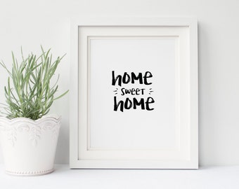 Home Sweet Home Typographic Wall Art Print - Typography Print - New Home Print - New Home Gift