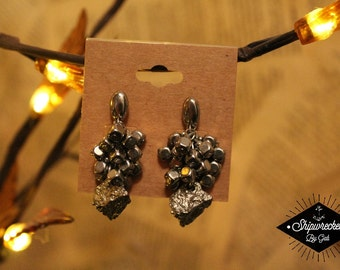 Silver Stone and Beaded Vintage Earrings!
