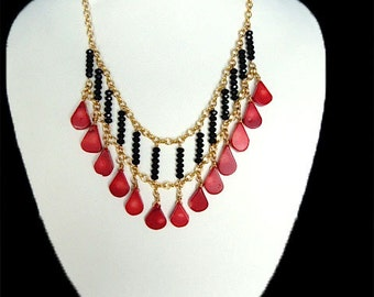 Statement Red and  Black Necklace