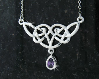 """Queen Royalty Celtic Knot Necklace w/ Purple CZ on 18"""" Chain (#JPEW5502)"""