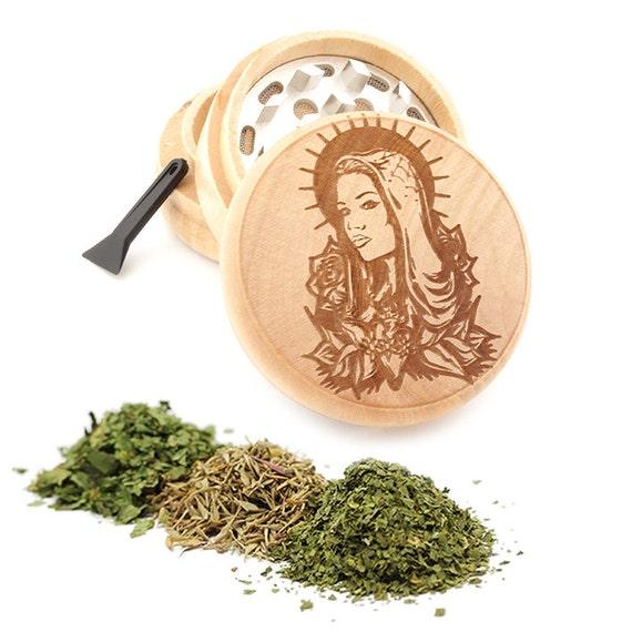 Guadalupe Engraved Premium Natural Wooden Grinder Item # PW050916-125