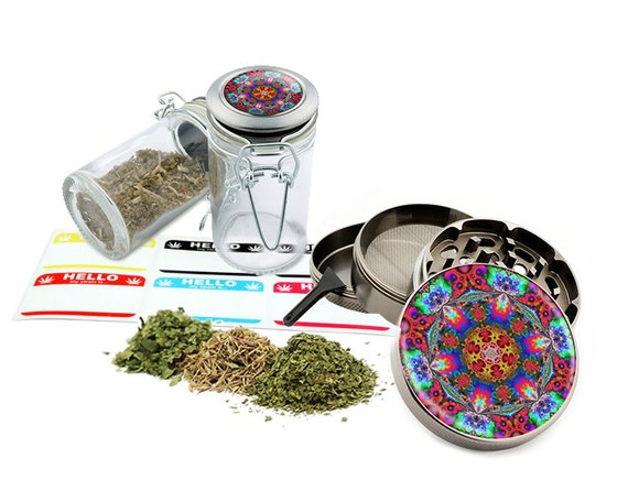 "Psychedelic - 2.5"" Zinc Alloy Grinder & 75ml Locking Top Glass Jar Combo Gift Set Item # 110514-0004"