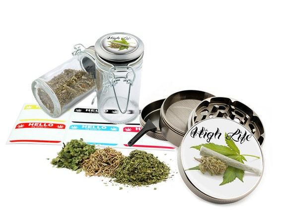 "High Life - 2.5"" Zinc Alloy Grinder & 75ml Locking Top Glass Jar Combo Gift Set Item # G50-102215-7"