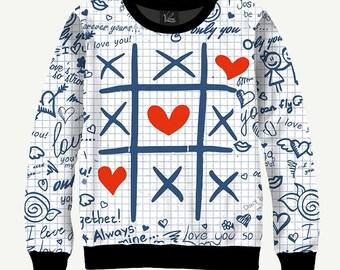 Tick Tack Toe - Men's Women's Sweatshirt | Sweater - XS, S, M, L, XL, 2XL, 3XL, 4XL, 5XL