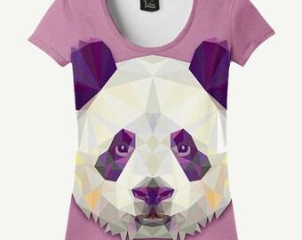 Panda T-shirt, Panda Shirt, Crystal T-shirt, Crystal Shirt, Pink T-shirt, Pink Shirt, Women's T-shirt, Women's Shirt