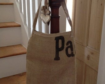 Upcycled burlap coffee sack bag