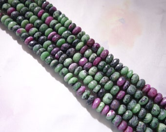 Ruby Zoisite Faceted Rondelle Beads, Ruby Zoisite Rondelle Beads, Ruby Zoisite Beads