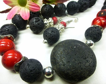 Black lava set with coral