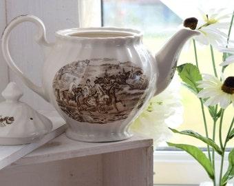 Teapot Brown Transferware hunting scene, Ironstone, fluted design, No backstamp, no crazing, chips or cracks, wedding gift,