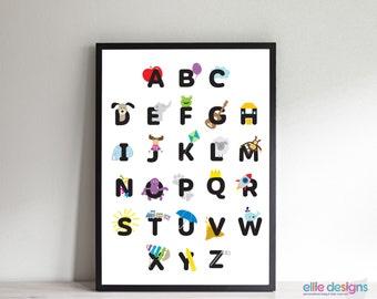 ABC Chart, Alphabet Nursery Wall Art - Nursery Decor -choose: CANVAS print or DIGITAL printable file- nursery art - kids room art- baby