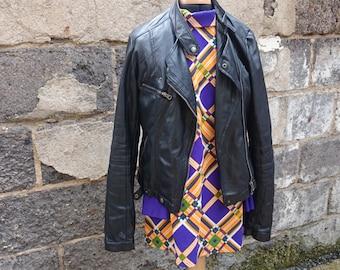Short vintage 80s orange and purple dress geometric print