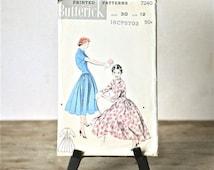 Circa 1950s Butterick Sewing Pattern 7240 Long Torso Dress Size 12 Cut