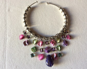 Pink mother of Pearl pendant necklace silver pipe green and purple and blue with beautiful great drop purple gold